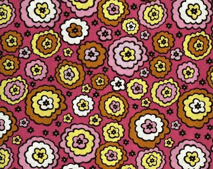Free Spirit Chocolate Lollipop  Abstract Flowers on Dark Pink Background  Fabric 07600-28 BTY