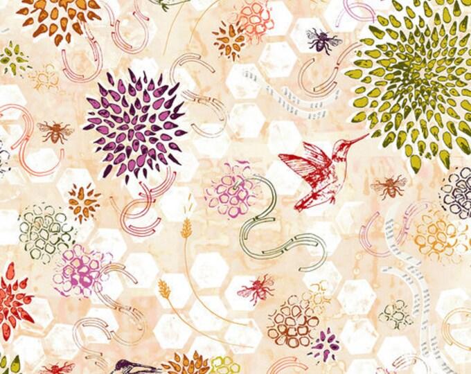 RJR POLLINATOR Leslie Tucker Jenison Hummingbird Dance Dawn Orange Pink Floral Fabric LT300-Da2 BTY