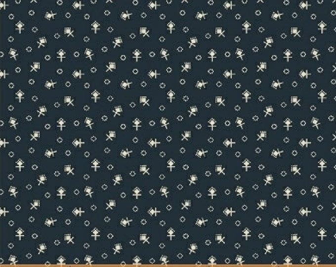 Windham Kindred Spirits Sisters Jill Shaulis Blue Shirting with Cream Beige Civil War Reproduction Fabric 42315-3 BTY