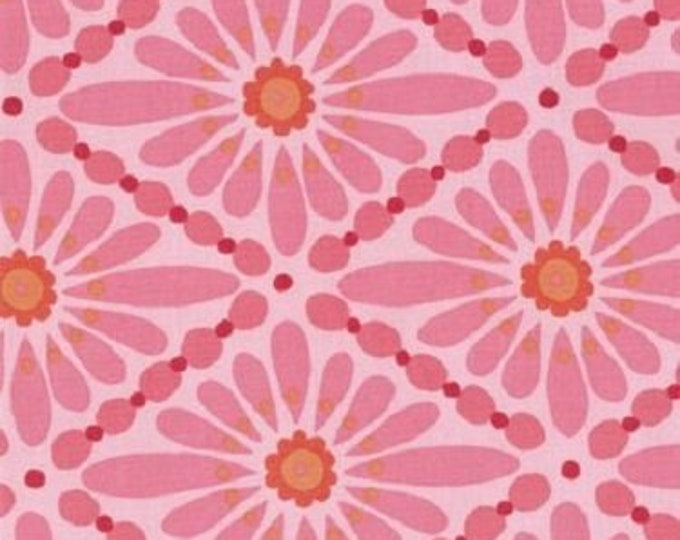 Free Spirit Cotton  Olive Rose Diamond pink  large  print with orange tones and pink  background  07600-20  BTY