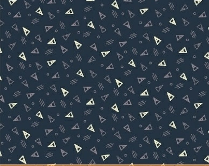 Windham Clayton Nancy Gere Orange Navy Blue with White Triangles Civil War Reproduction 43410-1 Fabric BTY
