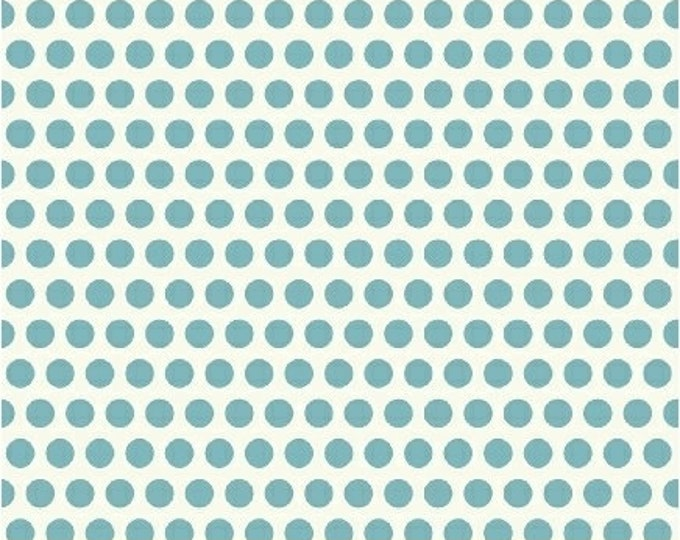 Windham Fabrics Uppercase by Janine Vangool cotton polka dots white with light blue 41823-1 BTY