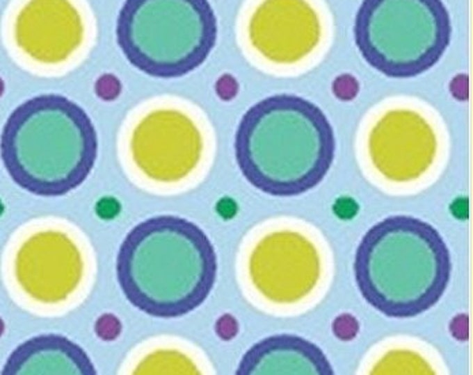 Benartex fabric Spirographix Teal  Green and White Circle  with Green and Purple Polka Dots on Light Blue   Cotton 04404 50 BTY