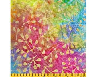 Clothworks Fresh Batiks Botanica 3 Multi Pastel Pink Yellow Leafy Floral Batik Fabric FB022-54 BTY