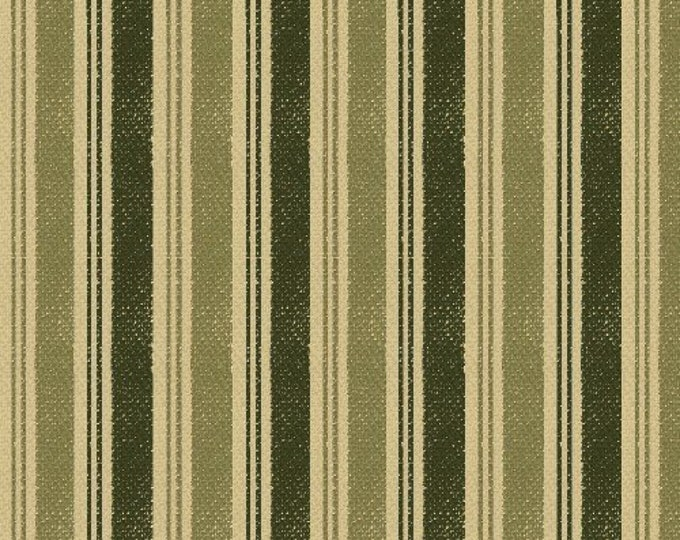 Windham Fabrics Basics  Ticking Green with Beige background solid stripes  Cotton 27688-2  BTY