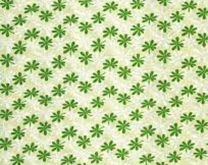 Benartex Basic Calicos 07603-94 Cotton Fabric Beige with Green and White BTY