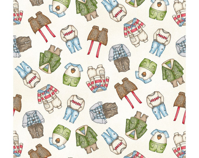 Maywood Fabric MAS8186-E  Forest Friends Guy Clothes BTY