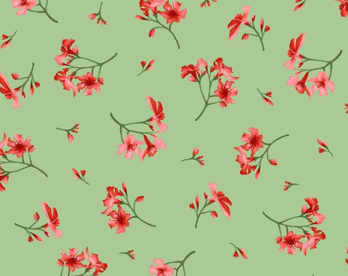 Maywood MAS9655-G Prose  Little Flowers Green and red flowers 100% COTTON BTY