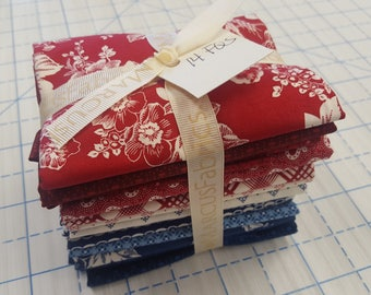 14 Marcus Faye Burgos Gallery in Red and Blue Floral Patriotic American QOV Fabric Fat Quarters