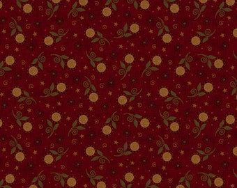 Henry Glass Co Harvest Blessings Red Brick Sunflower Floral Civil War Fabric 8546-88 BTY
