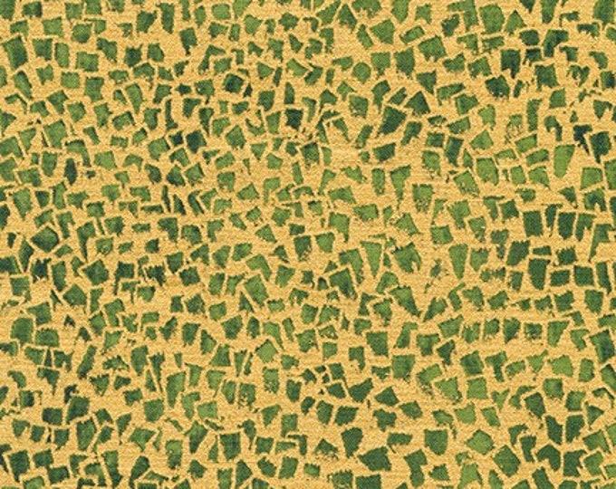 Robert Kaufman Gustav Klimt Spring 2019  Cotton Gold Green Grass Gilded Square Fabric BTY 18657-7