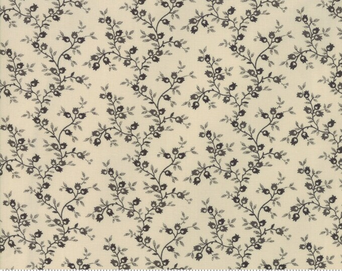 Moda Jos Shirtings by Jo Morton Cream Charcoal Floral Civil War Reproduction Fabric 38044-21  BTY