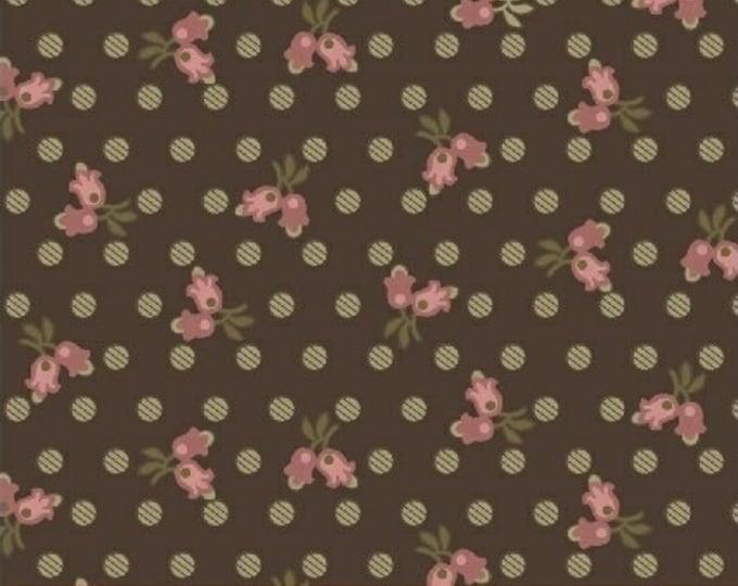 Windham Madeline Julie Hendrickson Pink Brown Cream Leafy Floral Polka Dot Civil War Fabric BTY 43453-1