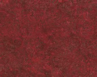 RJR Malam Jinny Beyer Batik Fire Red Brown Crimson Swirl Fabric 2144-006 BTY