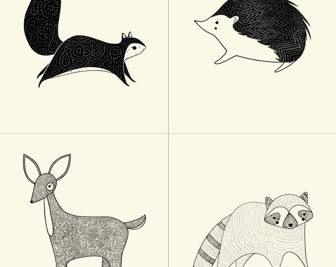 Moda Bramble Deer Raccoon Porcupine Squirrel Panel Cream with Black Fabric BTY / BTP 48280-21