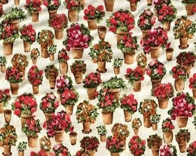 Fabric Freedom Country Garden F0389-02 Cotton Fabric Planters with Pink Flowers BTY