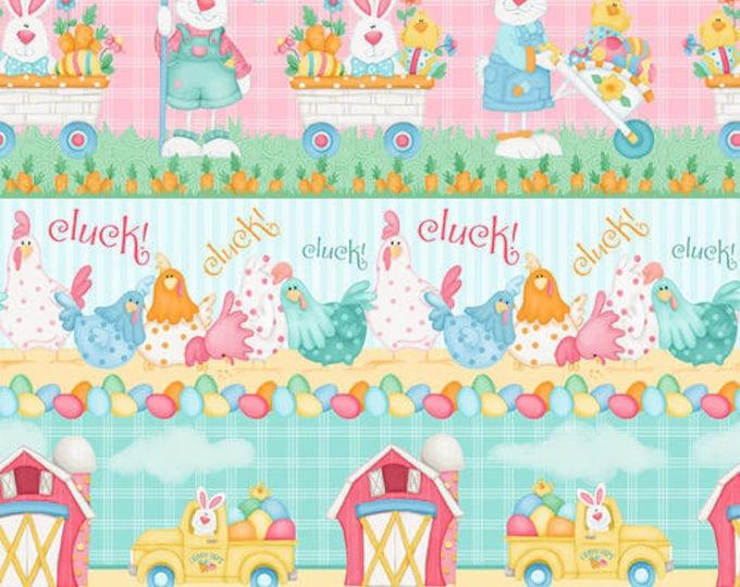 Henry Glass Fabric Down on the Bunny Farm  Shelly Comiskey Novelty Bunny Stripe BTY