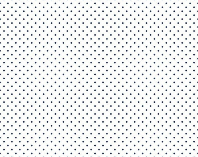 Riley Blake Designs Small Dots NAVY C660 Cotton Fabric BTY