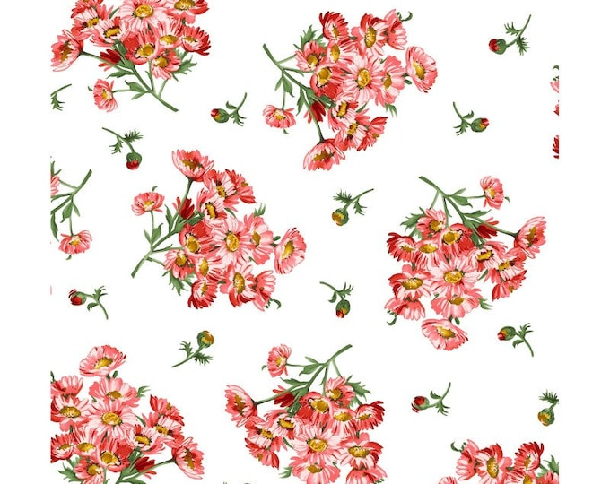 Maywood MAS9653-UW Prose  Daisy Bouquets White Fabric, red Flowers 100% COTTON BTY