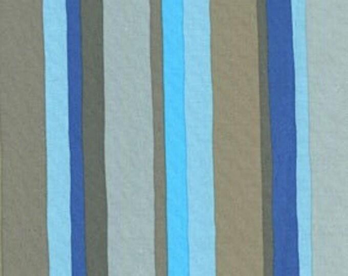 Free Spirit  Olive Rose Fabric Valori Wells -Olive Stripe Color Blue Cotton 07600-55 BTY