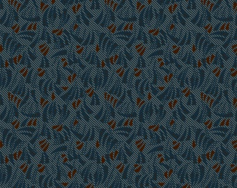 Windham Kindred Spirits Blue Brown Floral Leaf Civil War Reproduction 40218-6 Fabric BTY