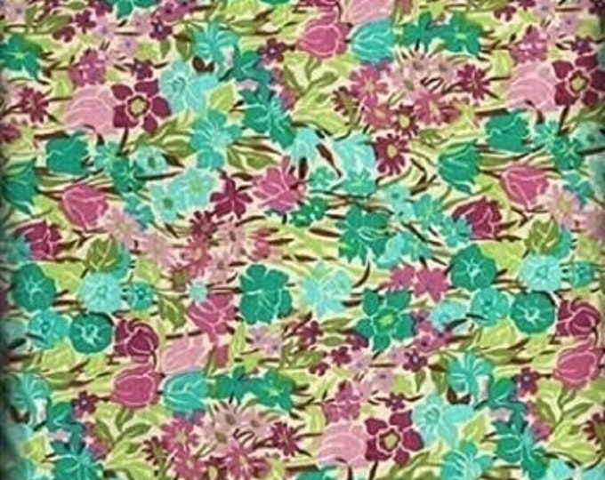 Fabric Freedom shadows Summer of Love Small Mixed Flowers Packed in Teal, Burgundy, Green and Pink  Background Cotton F0401-01  BTY