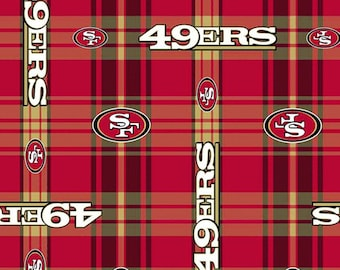 Professional NFL 49er's San Francisco Plaid Football Team FLANNEL Fabric  BTY