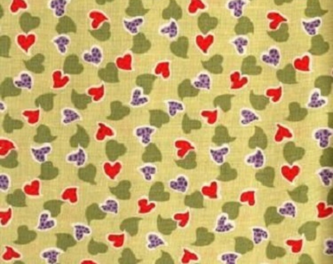 Fabric Freedom shadows Summer of Love  Small Green Purple Red Hearts on light green Background Cotton F0400-03 BTY