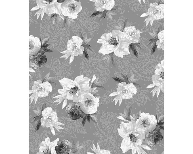 Maywood Fabric MAS9613-K2 Nocturne  Flowers on Paisley  BTY