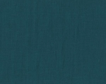 BeSpoke INDIGO Teal Blue Solid Double Gauze Lightweight Cotton and Steel Fabric 35 Inches