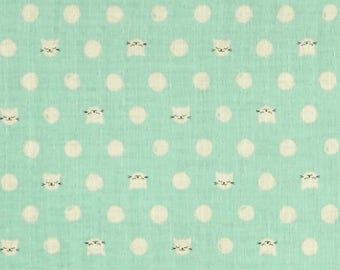 Cat Lady Mint Kitty Double Gauze Lightweight Cotton and Steel Fabric 29 Inches