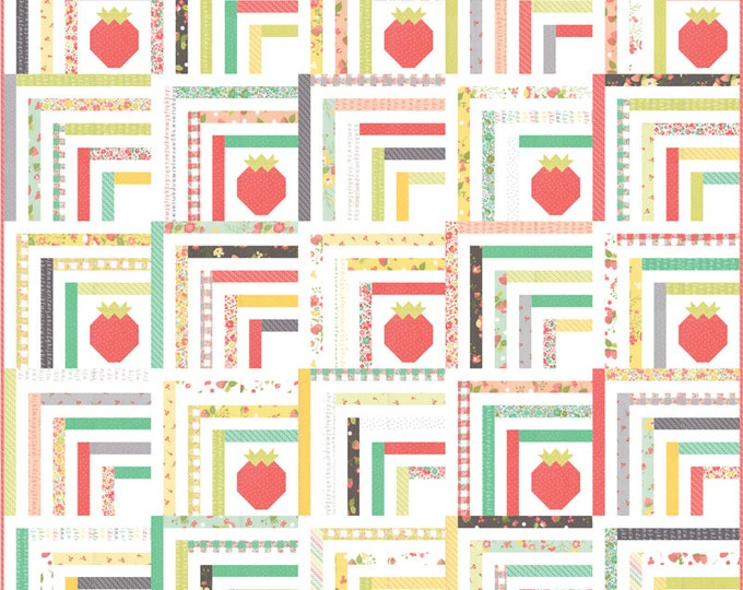 Moda Strawberry Jam Sincerely Yours Corey Yoder Coriander Quilts Floral Pink Yellow Fabric Complete Quilt KIT 60 x 60
