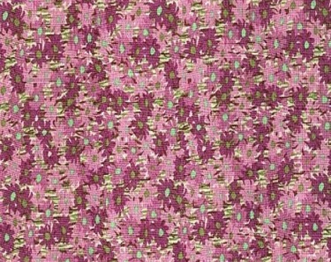 Fabric Freedom shadows Summer of Love Purple Flowers with Green Centers on Light Purple Background Cotton F0403-01  BTY
