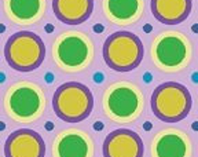 Benartex fabric  Spirographix Green Yellow Purple Polka Dot on Lilac   background by  Diane Nagel  Cotton 04404-60  BTY