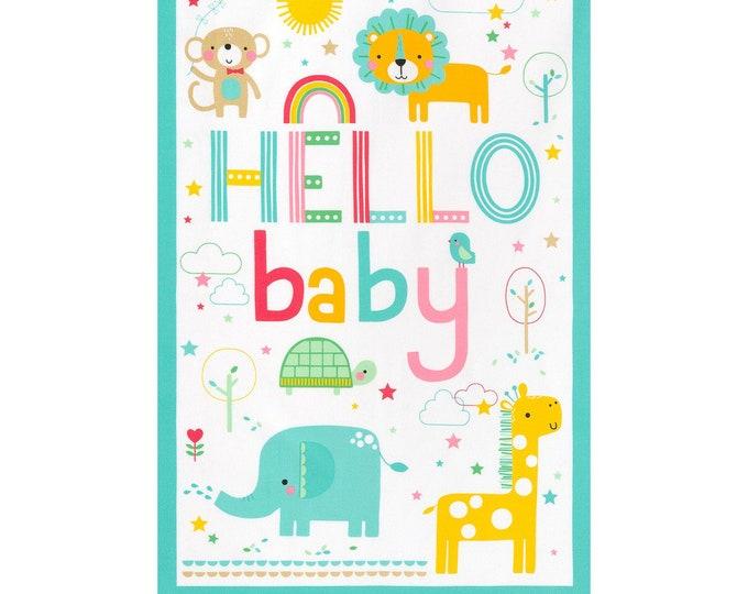Kaufman Welcome Baby Flannel Lucy Belfield Elephant Lion Giraffe Quilt Gender Neutral Panel Fabric 17889-205 Panel
