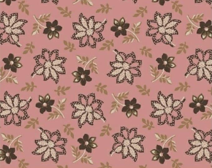 Windham Madeline Julie Hendrickson Pink Brown Cream Leafy Floral Civil War Fabric BTY 43452-2