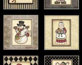 Holly Jolly Holiday Santa Snowman Elf Candy Cane 2/3 y Panel Christmas Fabric