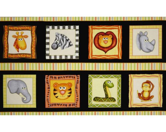Quilting Treasures Jungle Buddies Lion Snake Monkey Kids Panel Black Fabric 26411-J BTP