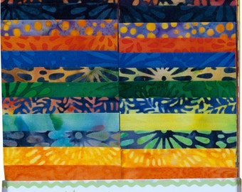 "Island Batik Pressed Petals Orange Yellow Green Batiks Jelly Roll Strips Pack 40 2.5"" Strips of Fabric"