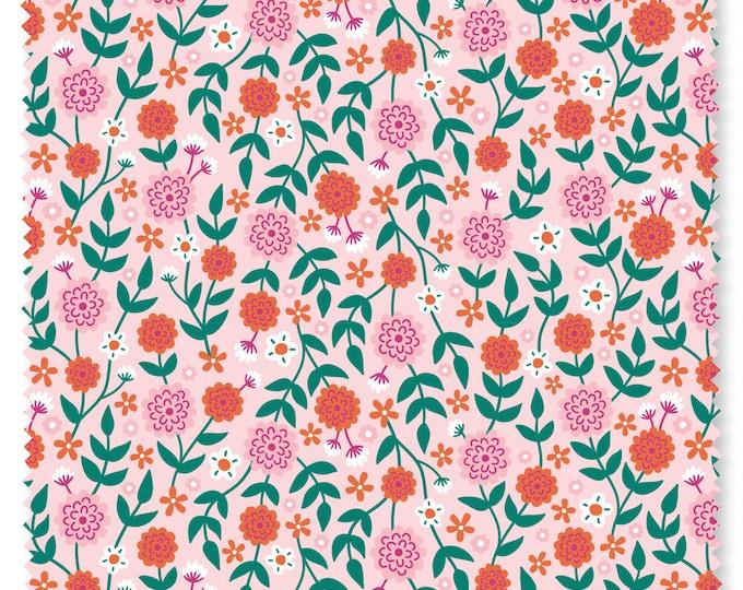Felicity fabric 610030 Flowers Summer garden Watermelon BTY