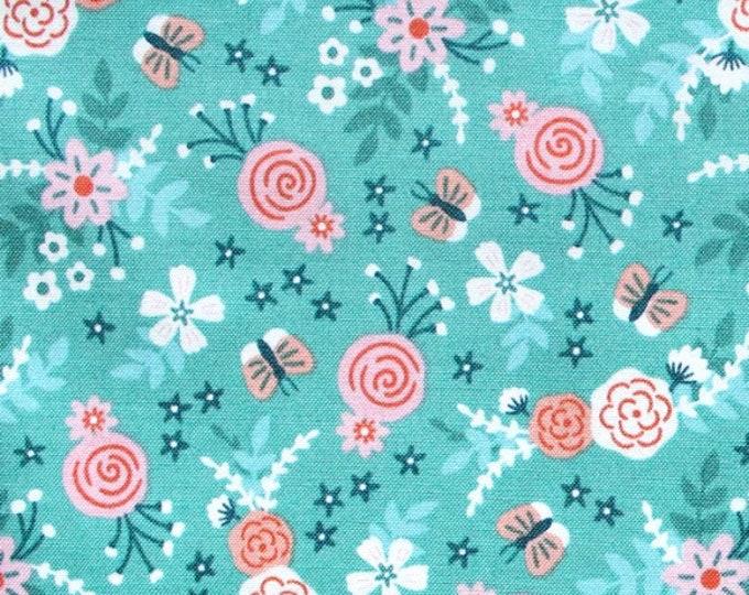 Felicity fabric 610029 Flowers and Butterflies Summer garden Watermelon BTY