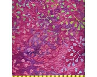 Clothworks Fresh Batiks Botanica 3 Dark Fuchsia Pink Magenta Leafy Floral Batik Fabric FB022-78 BTY