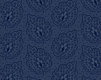 Windham Evelyn Floral Navy Blue Tonal Leaf War Reproduction Fabric 41985-1 BTY