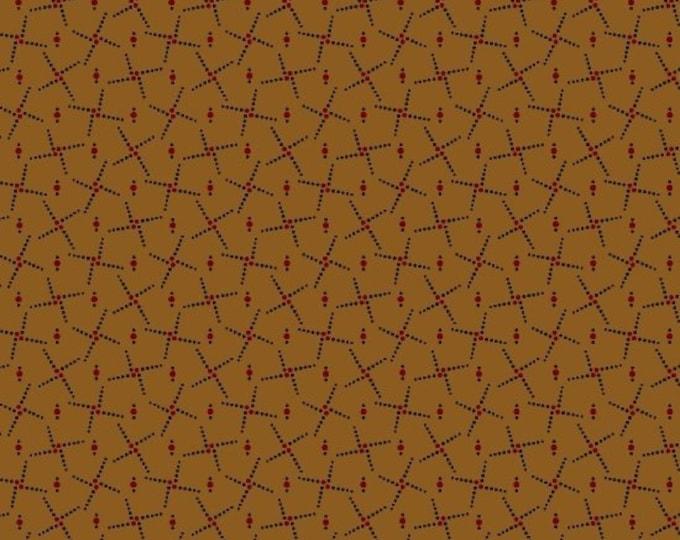 Marcus Pam Buda Prairie Basics Brown Black Red Civil War Print Fabric 7688-0140 BTY