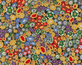 Robert Kaufman Gustav Klimt Multi Pebbles Flower Mille Fiore Gold Cotton Gilded Fabric BTY SRKM-17183-205