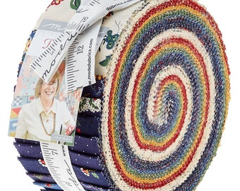 Moda Provencal by American Jane Blue Green Red Yellow Cream Jelly Roll 2.5 Fabric Strips