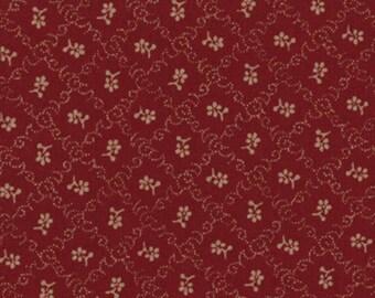 Moda OLD GLORY Gatherings Red Crimson Scarlet Floral Patriotic Primitive Gatherings Fabric 1077-15 BTY