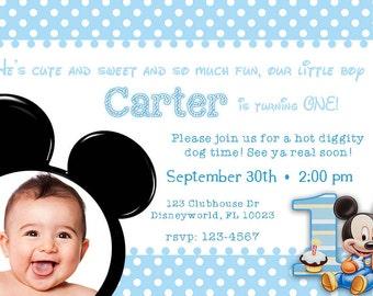 Digital Mickey Mouse 1st Birthday Invitation, Mickey Mouse 1st Birthday  Invite, Mickey Mouse Invitation