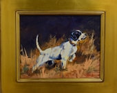 High Scent dog painting oil on board - painting of pointer dog hunting - upland hunting dog on point