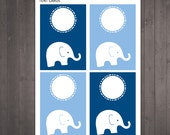 PRINTABLE blank elephant tent cards - use as place cards, food labels, bag tags - INSTANT DOWNLOAD
